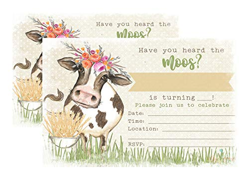 Silly Goose Gifts Have You Heard The Moos? Cow Watercolor Themed Party Invitation Invite Country Farm (Floral)