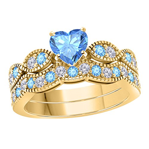 Blue Topaz 10kt Ring - Gems and Jewels 1.00 Ct Created Heart Shape Blue Topaz & White Simulated Diamond Milgrain Weave Engagement Wedding Ring Set 14K Yellow Gold Plated