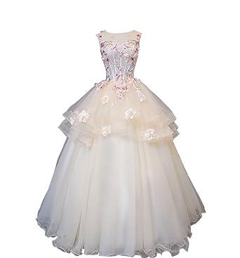 12aa76ec3b56c hanamaya シャンパン色 花柄 ウェディングドレス 結婚式 カラードレス 可愛い 花付き ふんわり (