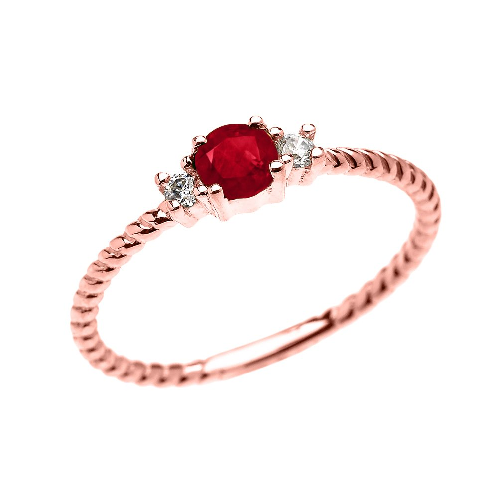 14k Rose Gold Dainty Solitaire Ruby and White Topaz Rope Design Stackable/Proposal Ring(Size 7)