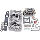 air gap chevy intake - Edelbrock 2020 Single-Quad Manifold And Carb Kit For Performer Air-Gap Manifold w/Performer Series 600cfm Carb Incl. Carb/Fuel Line/Intake Bolts/Gaskets Satin Finish Single-Quad Manifold And Carb Kit
