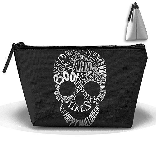 Halloween Phrases Cute Trip Toiletry Bag Trapezoidal Zipper Receive Bag Travel Fashion]()
