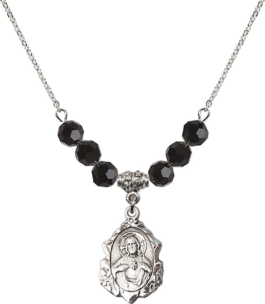 18-Inch Rhodium Plated Necklace with 6mm Jet Birthstone Beads and Sterling Silver Scapular Charm.