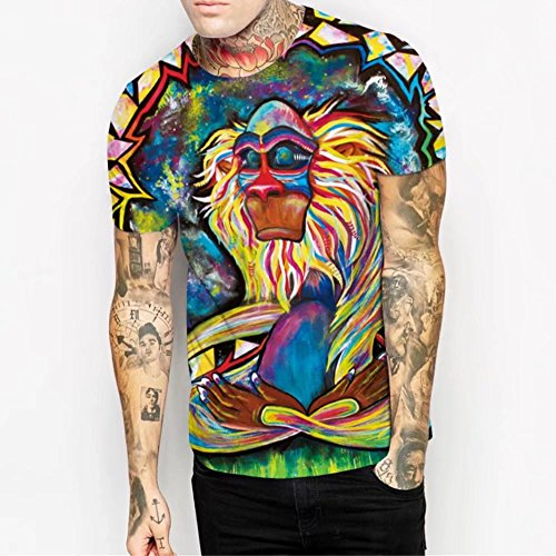 bb5d4205283c lovely Anzona Unisex Colorful 3D Cartoon Digital Monkey King Printed Short  Sleeve T-Shirt Fashion