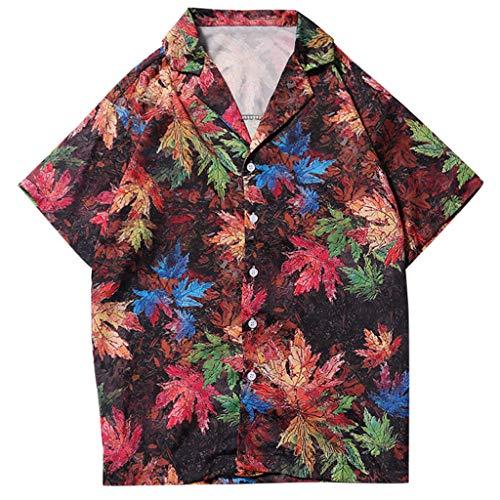 Shirt Night Life Summer Fashion Shirts Casual Short Sleeve Beach Tops Loose Casual Blouse Mens (L,2- Red)]()