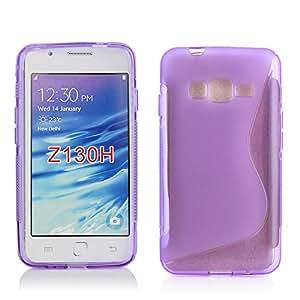 Kit Me Out ES ® Funda de Gel TPU + Cargador para el coche + Protector de pantalla con gamuza de microfibra para Samsung Z1 Z130H - Violeta Onda línea S