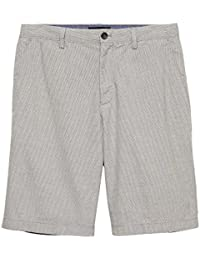 Mens Straight Emerson-Fit Grey Stripe Shorts