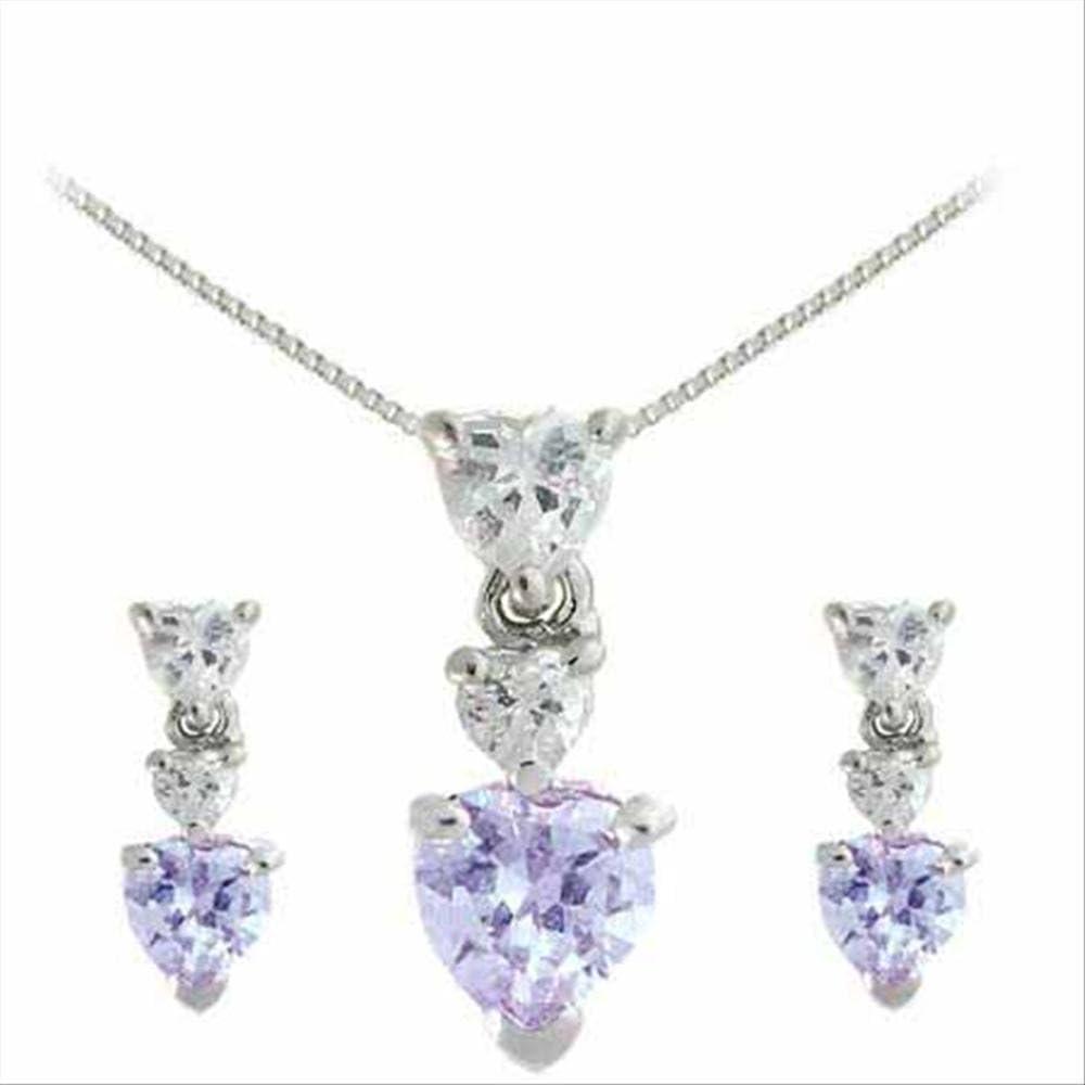 Glitzs Jewels Sterling Silver Lavender Cubic Zirconia Graduating Heart Set