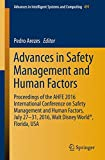 img - for Advances in Safety Management and Human Factors: Proceedings of the AHFE 2016 International Conference on Safety Management and Human Factors , July ... in Intelligent Systems and Computing) book / textbook / text book