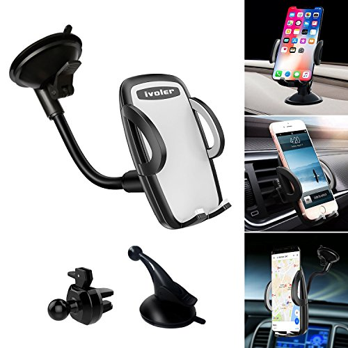 Car Phone Mount, iVoler 3-in-1 Universal Phone Holder Cell Phone Car Air Vent Holder Dashboard Mount Windshield Mount for iPhone 7 Plus,8 Plus,X,7,6S,6,Samsung Galaxy S9 S8 Note S8 S7 and More