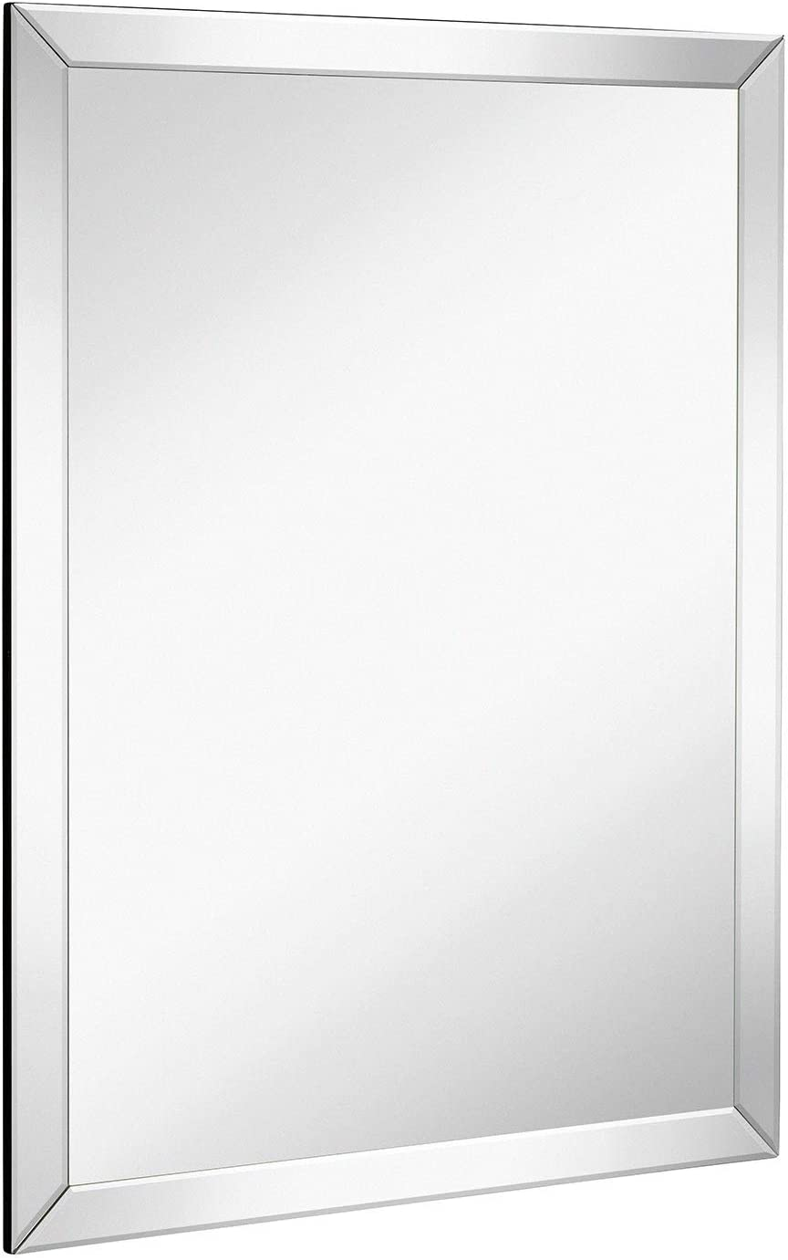 Large Flat Framed Wall Mirror with 2 Inch Edge Beveled Mirror Frame Premium Silver Backed Glass Panel Vanity, Bedroom, or Bathroom Mirrored Rectangle Hangs Horizontal or Vertical 30 x 40