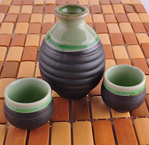Japanese Sake Set Green with Crackle Design, 3 Pieces Set, (8-Ounces Bottle / 2-Ounces Cups)
