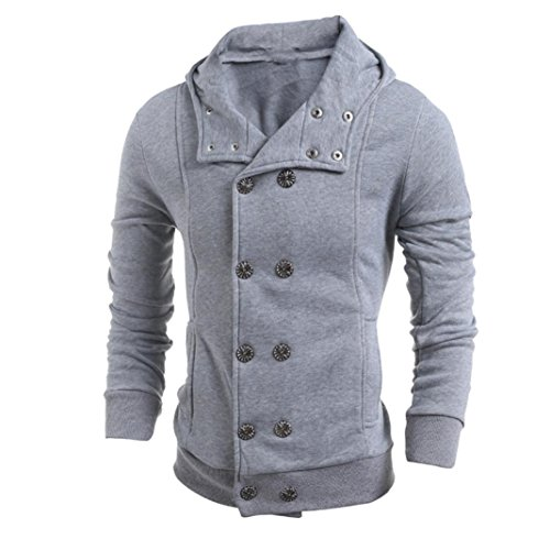 Sharemen Mens Stylish Fashion Classic V-Neck Double Breasted Pea Coat (Gray, XXL)