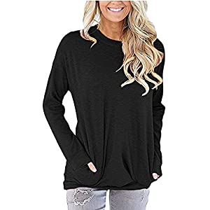 SVALIY Women Solid Color Round Neck Casual Loose Long Sleeve Sweatshirt T-shirts Tops Blouse