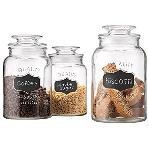 Merveilleux Set Of 3 Round Clear Apothecary Glass Canister Jars With Chalkboard With  Tight Lids For Kitchen Or Bathroom ~ Food,cookie,cracker, Storage Containers