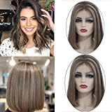 Ombre Short Bob Wig Lace Front Wig Brazilian Human Hair Wig for White Women Pre Plucked Medium Brown Roots Highlighted #4 Medium Brown with #27 Strawberry Blonde 16 Inch