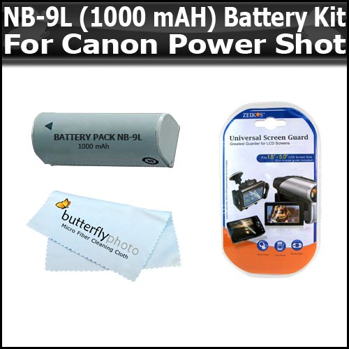 Ion 1000mah Extended Battery Li (Battery Kit For Canon PowerShot SD4500IS SD4500 ELPH 510 HS ELPH 520 HS ELPH 530 HS Digital Camera Incudes Extended Replacement NB-9L (1000 mAH) Lithium-Ion Battery + LCD Screen Protectors)