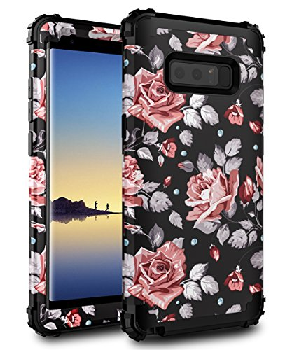 AoCase Galaxy Note 8 Case,Plastic + Rubber Silicone Cute Floral Case Heavy Duty Protection Hybrid Sturdy High Impact Resistant Case For Samsung Galaxy Note 8 Rose Flower Black