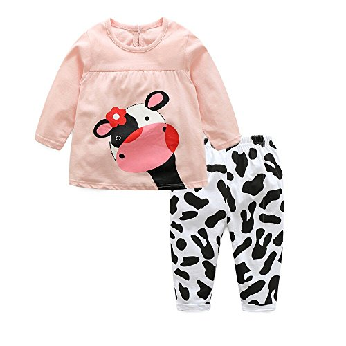 Moyikiss Studio Adorable Toddler Baby Girls Clothes Sets Cow Pattern Long Sleeve 2pcs Outfits (Pink, 70/0-6 Months) ()