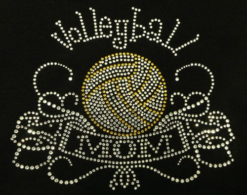 Volleyball Mom Banner Rhinestone Transfer Iron On - ()