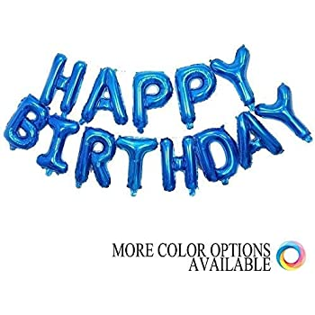 Grainee Happy Birthday Balloons Mylar Aluminum Foil Banner For Party Decorations And Supplies Navy