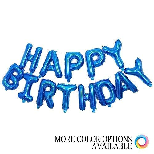 Grainee Happy Birthday Balloons, Mylar Aluminum Foil Banner Balloons for Birthday Party Decorations and Supplies (Navy)