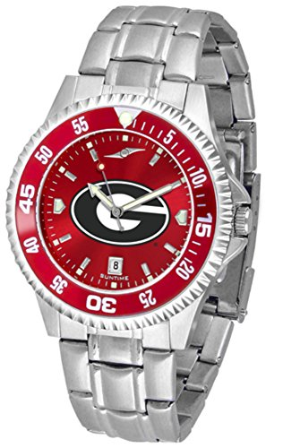 Bulldogs Mens Executive Watch - Georgia Bulldogs Competitor Steel AnoChrome Color Bezel Men's Watch