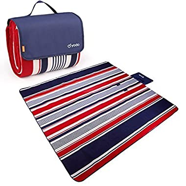 Yodo XXX-Large Outdoor Waterproof Picnic Blanket Tote 79  x 79  Light Weight with Soft Fleece and Padding