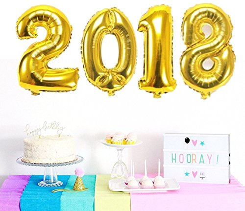 Vagski 2018 Number Balloons Gold 40 Inch Jumbo Aluminum Foil Balloons for 2018 New Year School Anniversary Festival Party Decoration SZ2018 (Digital Auto Inflate)