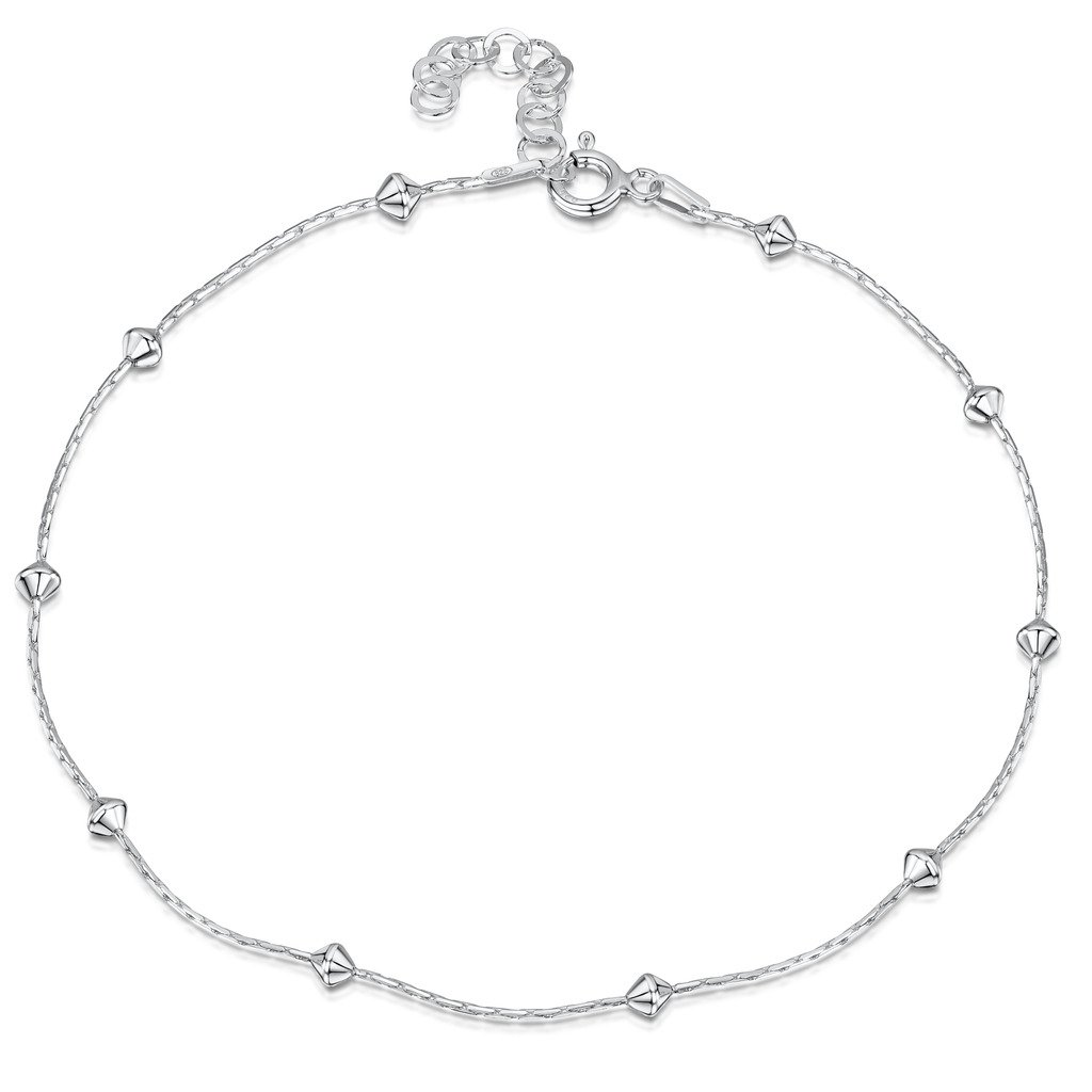 925 Fine Sterling Silver 1 mm Adjustable Anklet - Snake Chain With Diamond Shaped Beads Ankle Bracelet - 9'' to 10'' inch - Flexible Fit