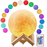 Deewin Moon Light Lamps with Stand 3D Printing Moon Lamp 16 Color LED Dimmable with Touch/Remote Control Control USB Charging Light for Lover Kids Party Gift