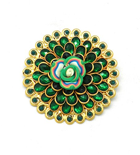 34c979befc5 Buy Saree Pin Brooch Saree Accessories Decorated With Green Pacchi, beads &  flower Online at Low Prices in India | Amazon Jewellery Store - Amazon.in