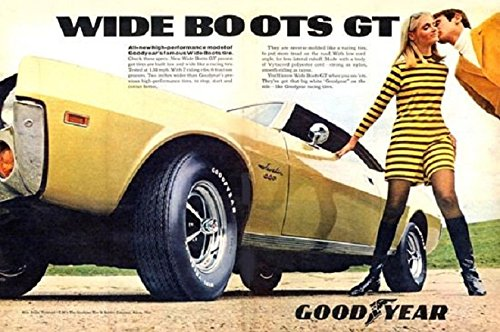 1968 GOODYEAR WIDE BOOTS GT TIRES with AMC JAVELIN SST VINTAGE COLOR AD DOUBLE PAGE - USA - BEAUTIFUL ORIGINAL !! (CHV)