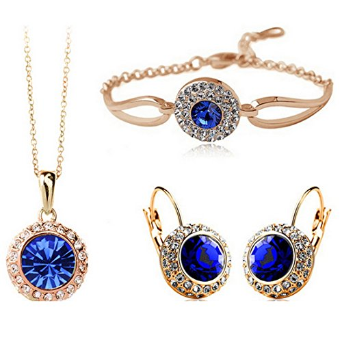 MAFMO Women Fashion Jewelry 18K Gold Plated Crystal Round Shaped Necklace Bracelet Earrings Set (Royal Blue)