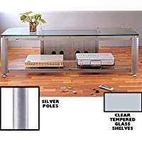 VTI HGR Series Plasma/LCD TV Stand - Silver Pole / Clear Glass