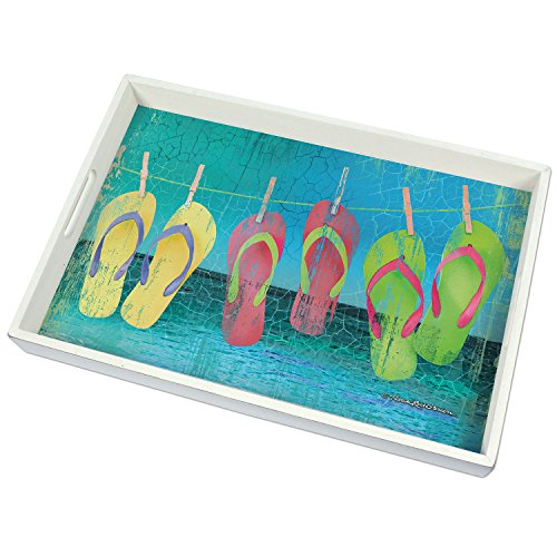 CounterArt 18-Inch Wooden Butler-Style Tray, Colorful Flip Flops