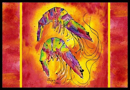 Caroline's Treasures Bright Shrimp on Red Indoor or Outdoor Mat, 18' x 27', Multicolor