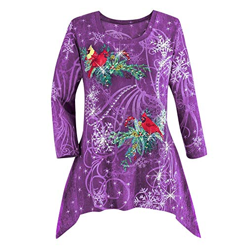 hristmas Long Sleeve Shirt Holiday Tee Winter Top Blouse Plus Size Bar Party Shirt Jumper Tunic (A-Purple,US-S/Label-M) ()