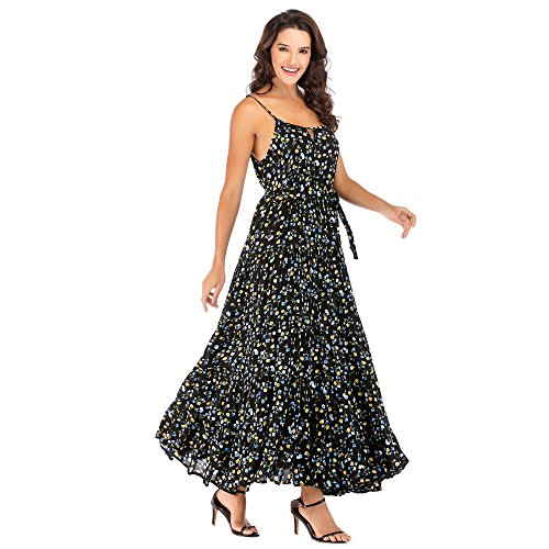 Welove fashion Women's Plus Size Strap Flared Belted Sixth Tiered Maxi Floral Dress (L/XL, Black)