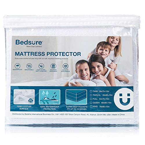 Bedsure 100% Waterproof Mattress Protector Queen Size Terry Cotton Deep Pocket Hypoallergenic Mattress Cover-White 60 x 80
