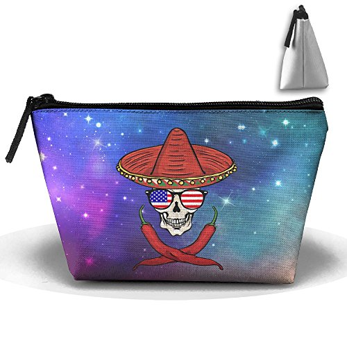 Skull Chili Sunglasses American Large Portable Cosmetic Bag Pouch Tote Handbag Work Bag With - Chili Sunglasses