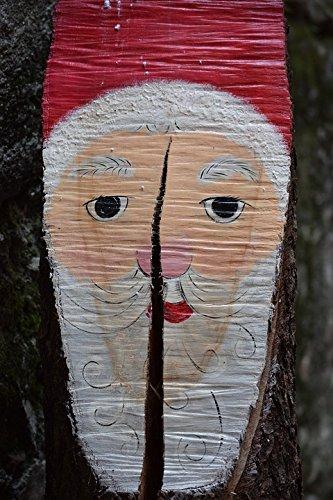 Laminated Wood Santa - Home Comforts LAMINATED POSTER Trunk Tree Santa Claus Christmas Wood Drawing Poster 24x16 Adhesive Decal