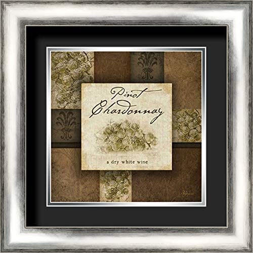 Silver Chardonnay - Pinot Chardonnay 20x20 Silver Contemporary Wood Framed and Double Matted (Black Over Silver) Art Print by Pugh, Jennifer