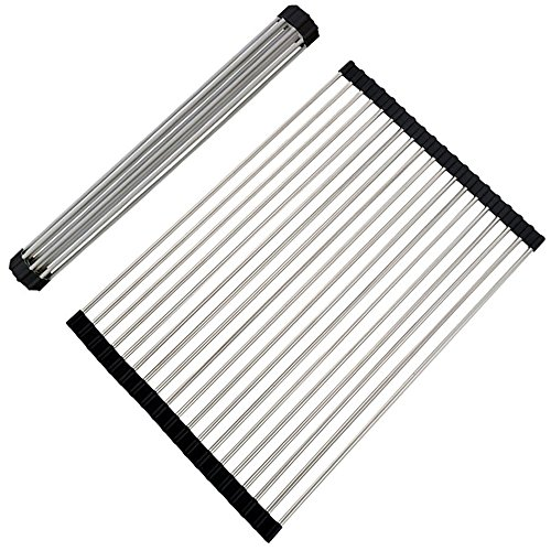 VAPSINT Roll Up Dish Drying Rack,Stainless Steel Brushed Nic