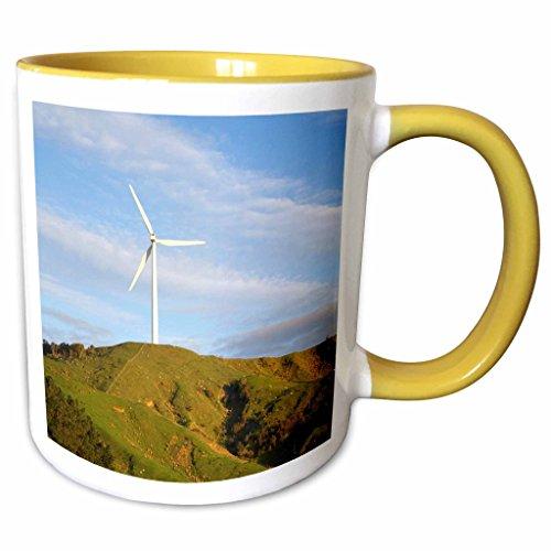 3dRose Danita Delimont - Energy - New Zealand, Te Apiti Wind Farm, Ruahine Ranges, Energy-AU02 DWA6074 - David Wall - 11oz Two-Tone Yellow Mug (mug_71710_8) Apiti Wind Farm