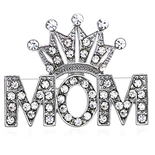 Soulbreezecollection Queen Princess Tiara Heart Mother's Day Mom Pin Brooch Clear Rhinestones ()