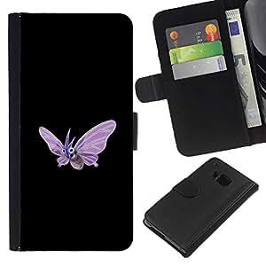 LECELL--Cuero de la tarjeta la carpeta del tirón Smartphone Slots Protección Holder For HTC One M9 -- Venomoth P0kemon --
