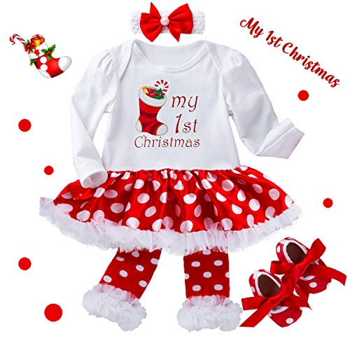 Christmas Outfits for Baby Girls - My 1st Christmas Dress Set with Headband for Newborn Infant Toddlers Birthday New Year Gifts Polka Dots Stocking Decorations Tutu Skirt Romper Clothes, 3-6 Months