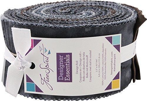 Designer Essentials Solids & Mixers Black Design Roll 40 2.5-inch Strips Jelly Roll FreeSpirit by Free Spirit