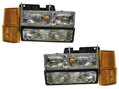 GMC Truck Seirra Yukon Suburban 8pc Headlights Headlamps Pair 8pc
